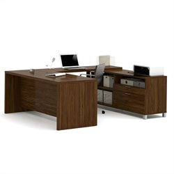 Bestar Pro-Linea U-Desk in Oak Barrel