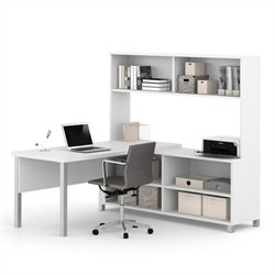 Bestar Pro-Linea L-Desk with Hutch Open With Leg