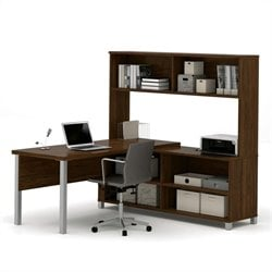 Bestar Pro-Linea L-Desk with Hutch in Oak Barrel