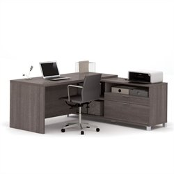 Bestar Pro-Linea L Shape Desk in Bark Grey