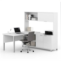 Bestar Pro-Linea L-Desk with Hutch in White