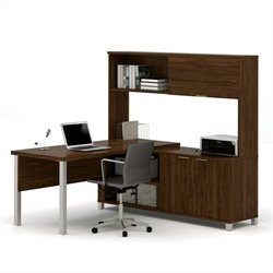 Bestar Pro-Linea L-Desk with Hutch With Leg