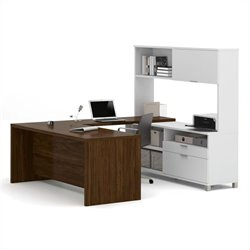 Bestar Pro-Linea U-Desk with Hutch in White and Oak Barrel
