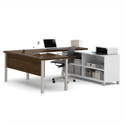 Bestar Pro-Linea U-Desk in White and Oak Barrel