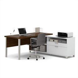 Bestar Pro-Linea L-Desk in White and Oak Barrel