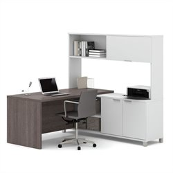 Bestar Pro-Linea L-Desk with Hutch in White and Bark Grey