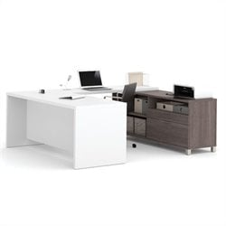 Bestar Pro-Linea U-Desk in Bark Grey and White