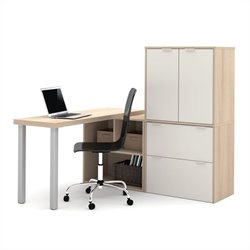 Bestar i3 L-Shaped Desk in Northern Maple and Sandstone