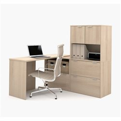 Bestar i3 L-Shaped Desk in Northern Maple