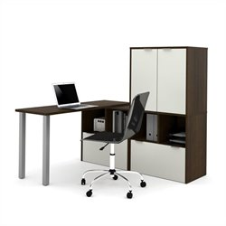 Bestar i3 L-Shaped Desk in Tuxedo and Sandstone