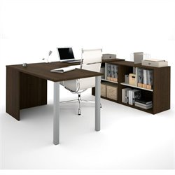 Bestar i3 U-Shaped Desk in Tuxedo and Sandstone