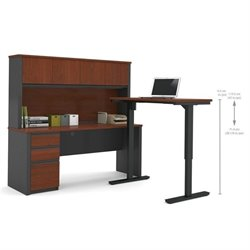 Bestar Prestige + L-Shape Desk with Hutch in Bordeaux and Graphite