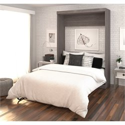 Bestar Nebula Full Wall Bed in Bark Grey and White