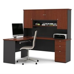 Bestar Manhattan L Shape Workstation in Bordeaux and Graphite