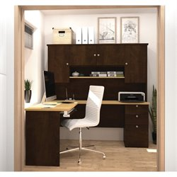 Bestar Manhattan L Shape Workstation in Secret Maple and Chocolate