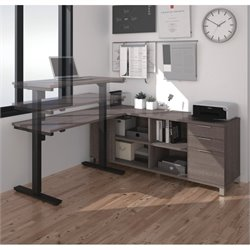 Bestar Pro Linea L Shape Power Adjustable Table in Bark Gray
