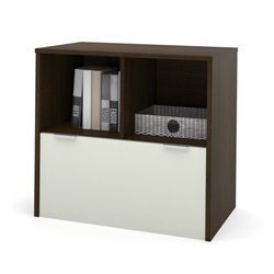 Bestar i3 Filing Cabinet with Drawer in Tuxedo and Sandstone