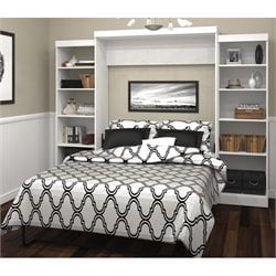 Bestar Pur Queen Wall Bed with Storage in White