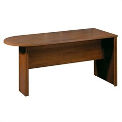 Bestar Embassy Half Racetrack 5.5' Conference Table with Slab Base in Tuscany Brown