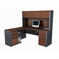 Bestar Prestige + L-Shape Wood Computer Desk in Bordeaux / Graphite