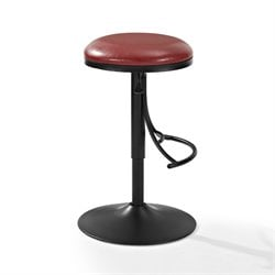 Crosley Jasper Backless Swivel Counter Stool In Black Red Cushion