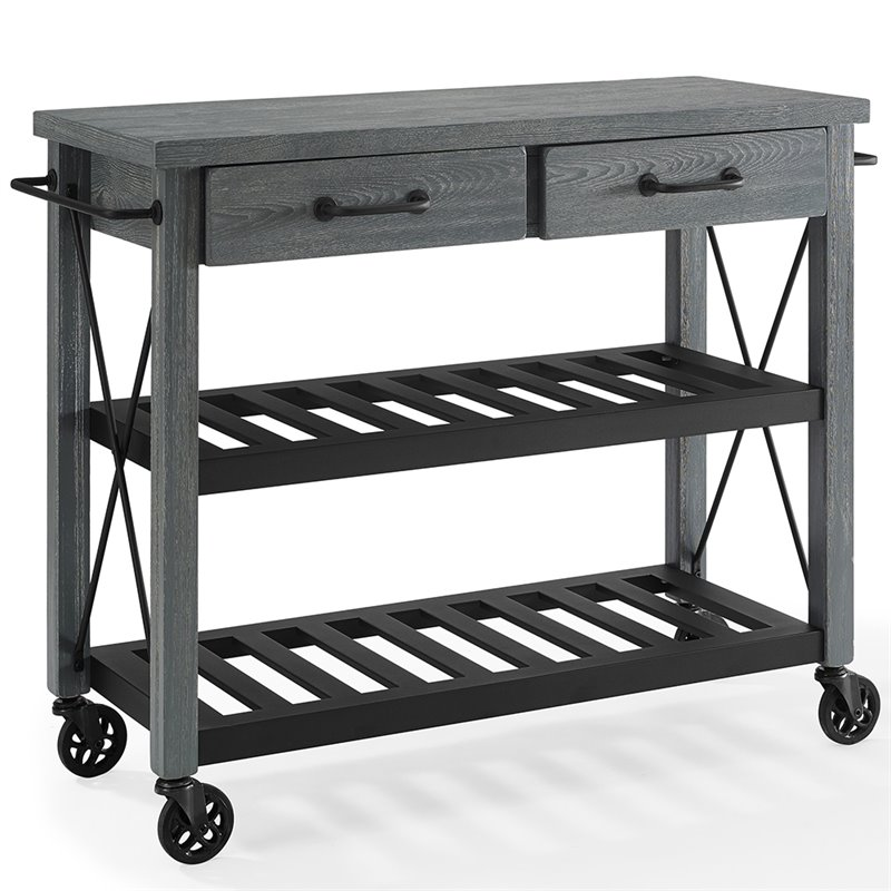 Crosley Furniture Kitchen Cart In Gray And Black Cf3008 Gy