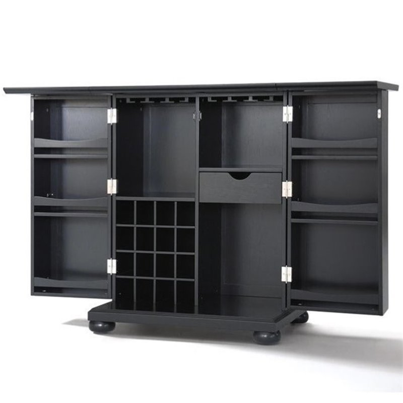 Alexandria Expandable Bar Cabinet in Black Finish