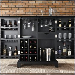 Crosley Furniture Newport Expandable Bar Cabinet in Black