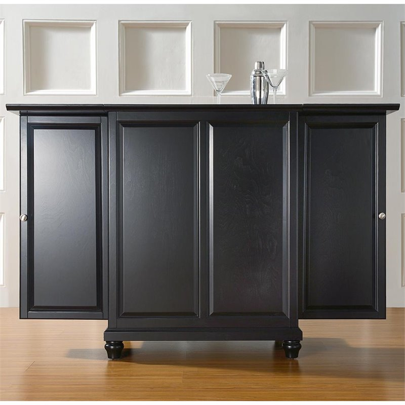 Crosley Furniture Cambridge Expandable Home Bar Cabinet in Black Finish