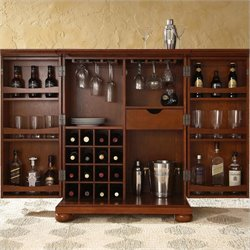 Crosley Furniture Alexandria Expandable Bar Cabinet in Classic Cherry Finish