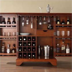 Crosley Furniture LaFayette Expandable Bar Cabinet in Classic Cherry Finish