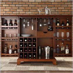 Crosley Furniture Newport Expandable Home Bar Cabinet in Classic Cherry Finish