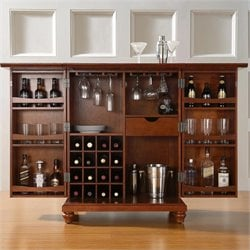 Crosley Furniture Cambridge Expandable Home Bar Cabinet in Classic Cherry Finish