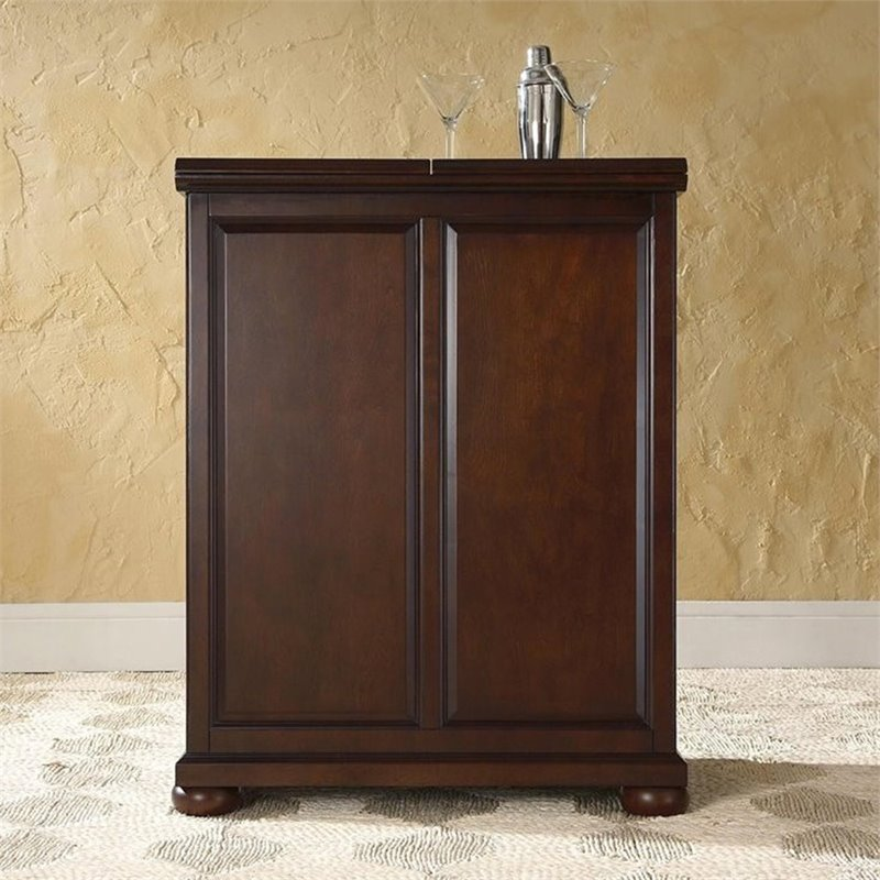 Crosley Furniture Alexandria Expandable Home Bar Cabinet in Vintage Mahogany