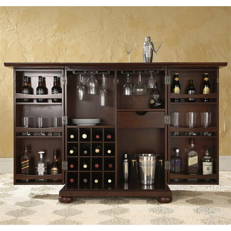 Crosley furniture alexandria expandable home bar cabinet in vintage mahogany kf40001ama Home pub bar furniture
