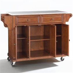 Crosley Furniture Stainless Steel Top Kitchen Cart in Classic Cherry Finish