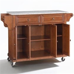 Crosley Furniture Solid Granite Top Kitchen Cart in Classic Cherry Finish