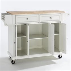Crosley Furniture Natural Wood Top Kitchen Cart in White Finish