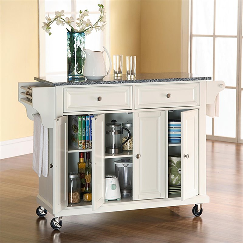 Crosley Furniture Solid Granite Top Kitchen Cart in White