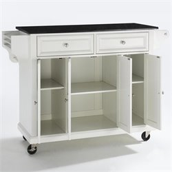 Crosley Furniture Solid Black Granite Top Kitchen Cart in White Finish