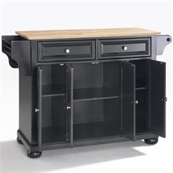 Crosley Furniture Alexandria Natural Wood Top Kitchen Island in Black Finish