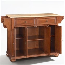 Crosley Furniture Alexandria Natural Wood Top Kitchen Island in Classic Cherry Finish