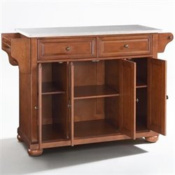 Crosley Furniture Alexandria Stainless Steel Top Kitchen Island in Classic Cherry Finish