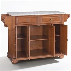 Crosley Furniture Alexandria Solid Granite Top Kitchen Island in Classic Cherry Finish