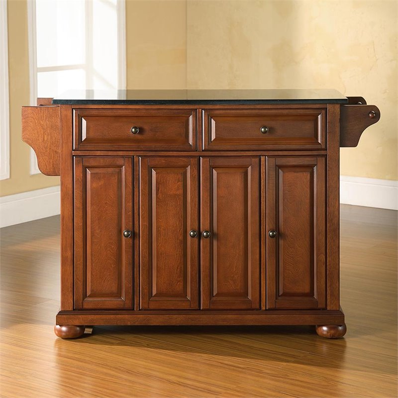 Crosley Furniture Alexandria Black Granite Top Kitchen Island In Classic  Cherry