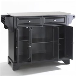 Crosley Furniture LaFayette Stainless Steel Top Kitchen Island in Black Finish
