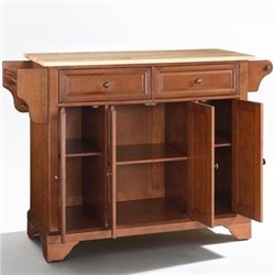 Crosley Furniture LaFayette Natural Wood Top Kitchen Island in Classic Cherry