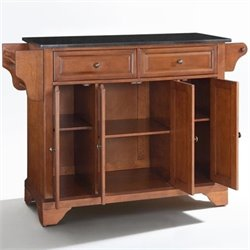 Crosley Furniture LaFayette Solid Black Granite Top Kitchen Island in Classic Cherry Finish