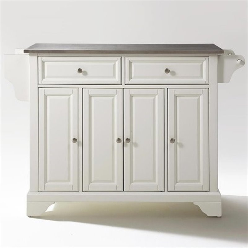Crosley Furniture LaFayette Stainless Steel Top Kitchen Island in White Finish