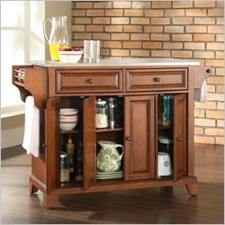 Crosley Furniture Newport Stainless Steel Top Kitchen Island in Classic Cherry Finish